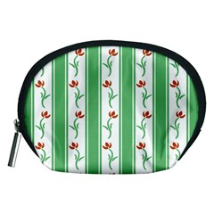 Flower Background Green Accessory Pouches (medium)