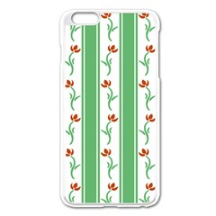 Flower Background Green Apple Iphone 6 Plus/6s Plus Enamel White Case by AnjaniArt