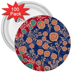 Floral Red Blue Flower 3  Buttons (100 Pack)