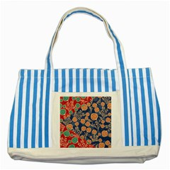 Floral Red Blue Flower Striped Blue Tote Bag by AnjaniArt