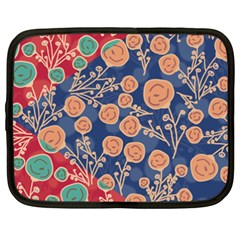 Floral Red Blue Flower Netbook Case (xxl)  by AnjaniArt