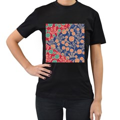 Floral Red Blue Flower Women s T Shirt (black) by AnjaniArt