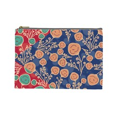 Floral Red Blue Flower Cosmetic Bag (large)