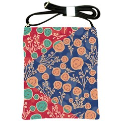 Floral Red Blue Flower Shoulder Sling Bags by AnjaniArt