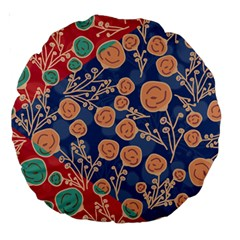 Floral Red Blue Flower Large 18  Premium Round Cushions