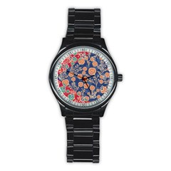 Floral Red Blue Flower Stainless Steel Round Watch by AnjaniArt