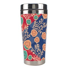 Floral Red Blue Flower Stainless Steel Travel Tumblers by AnjaniArt