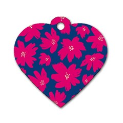 Flower Red Blue Dog Tag Heart (one Side)