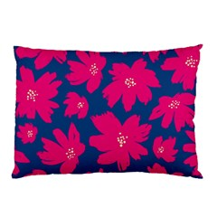 Flower Red Blue Pillow Case by AnjaniArt