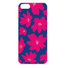 Flower Red Blue Apple Iphone 5 Seamless Case (white) by AnjaniArt