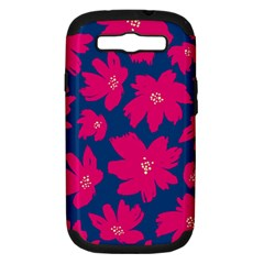 Flower Red Blue Samsung Galaxy S Iii Hardshell Case (pc+silicone) by AnjaniArt