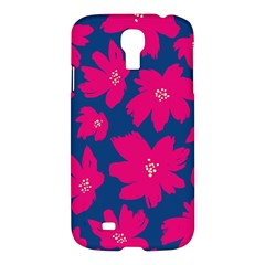 Flower Red Blue Samsung Galaxy S4 I9500/i9505 Hardshell Case by AnjaniArt