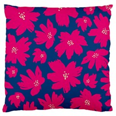 Flower Red Blue Large Flano Cushion Case (one Side)