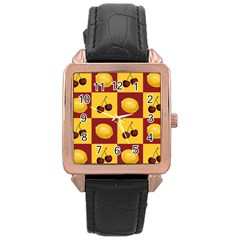Fruit Pattern Rose Gold Leather Watch  by AnjaniArt