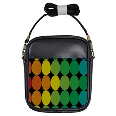 Geometry Round Colorful Girls Sling Bags
