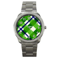 Green Plaid Sport Metal Watch