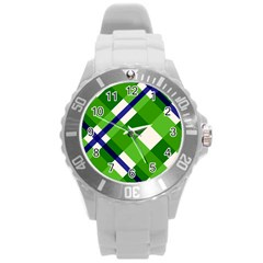 Green Plaid Round Plastic Sport Watch (l)