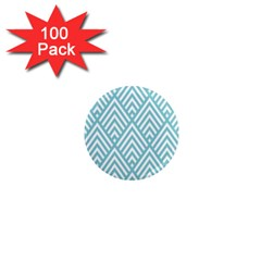 Geometric Blue 1  Mini Magnets (100 Pack)  by AnjaniArt
