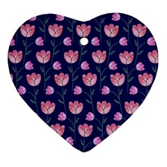 Flower Tulip Floral Pink Blue Ornament (heart)  by AnjaniArt