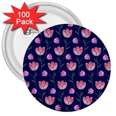 Flower Tulip Floral Pink Blue 3  Buttons (100 Pack)
