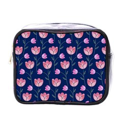 Flower Tulip Floral Pink Blue Mini Toiletries Bags by AnjaniArt