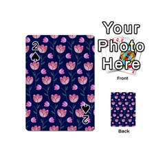 Flower Tulip Floral Pink Blue Playing Cards 54 (mini)  by AnjaniArt
