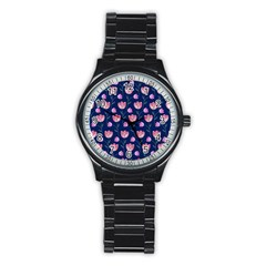 Flower Tulip Floral Pink Blue Stainless Steel Round Watch by AnjaniArt