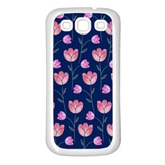 Flower Tulip Floral Pink Blue Samsung Galaxy S3 Back Case (white) by AnjaniArt