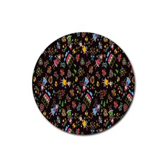 Happy Family Flower Home Sweet Bee Rubber Coaster (round)