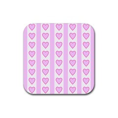 Heart Pink Valentine Day Rubber Square Coaster (4 Pack)  by AnjaniArt
