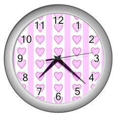 Heart Pink Valentine Day Wall Clocks (silver)  by AnjaniArt