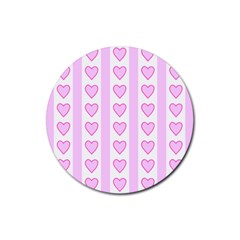 Heart Pink Valentine Day Rubber Round Coaster (4 Pack)  by AnjaniArt