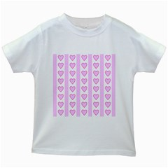 Heart Pink Valentine Day Kids White T Shirts by AnjaniArt