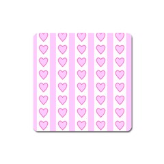 Heart Pink Valentine Day Square Magnet