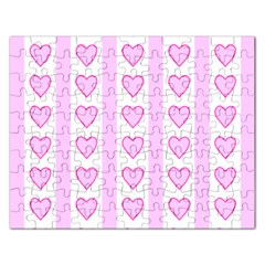 Heart Pink Valentine Day Rectangular Jigsaw Puzzl by AnjaniArt