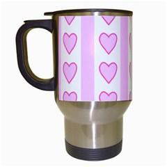 Heart Pink Valentine Day Travel Mugs (white) by AnjaniArt