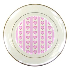 Heart Pink Valentine Day Porcelain Plates by AnjaniArt