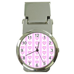 Heart Pink Valentine Day Money Clip Watches