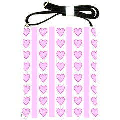 Heart Pink Valentine Day Shoulder Sling Bags by AnjaniArt