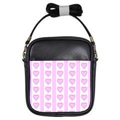 Heart Pink Valentine Day Girls Sling Bags by AnjaniArt