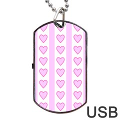 Heart Pink Valentine Day Dog Tag Usb Flash (one Side) by AnjaniArt