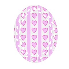 Heart Pink Valentine Day Oval Filigree Ornament (2 Side)  by AnjaniArt