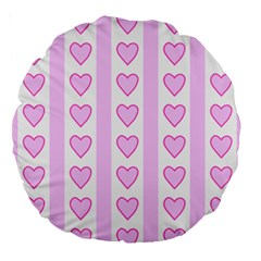 Heart Pink Valentine Day Large 18  Premium Round Cushions by AnjaniArt