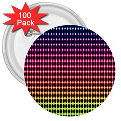 Halftone Pattern Rainbow 3  Buttons (100 Pack)  by AnjaniArt