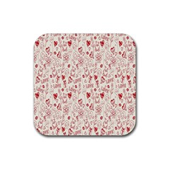 Heart Surface Kiss Flower Bear Love Valentine Day Rubber Square Coaster (4 Pack)