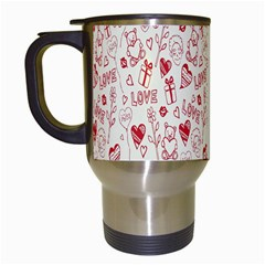Heart Surface Kiss Flower Bear Love Valentine Day Travel Mugs (white) by AnjaniArt