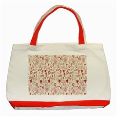 Heart Surface Kiss Flower Bear Love Valentine Day Classic Tote Bag (red)