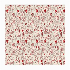 Heart Surface Kiss Flower Bear Love Valentine Day Medium Glasses Cloth by AnjaniArt