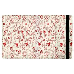 Heart Surface Kiss Flower Bear Love Valentine Day Apple Ipad 2 Flip Case by AnjaniArt