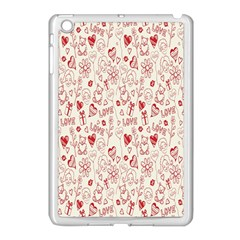 Heart Surface Kiss Flower Bear Love Valentine Day Apple Ipad Mini Case (white) by AnjaniArt